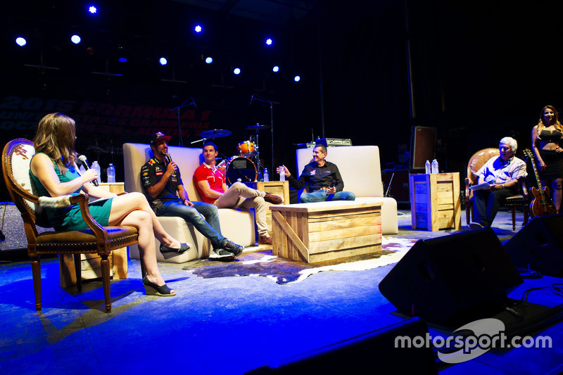 (L to R): Daniel Ricciardo, Red Bull Racing; Alexander Rossi, Manor Marussia F1 Team; and Guenther Steiner, Haas F1 Team Principal at the Fans' Forum