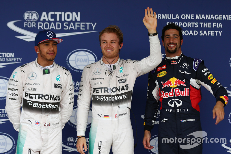 Qualifying: polesitter Nico Rosberg, Mercedes AMG F1, second place Lewis Hamilton, Mercedes AMG F1, third place Daniel Ricciardo, Red Bull Racing