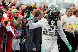 Second placed Nico Rosberg, Mercedes AMG F1 in parc ferme