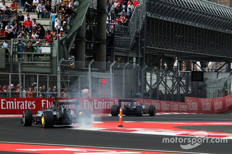 F1 - Nico Rosberg, Mercedes AMG F1 W06 avec ses freins arrière en feu
