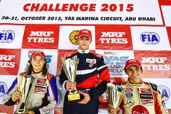 Ganador de la carrera, Nikita Troitskiy, segundo lugar, Tatiana Calderón, tercero, Pietro Fittipaldi