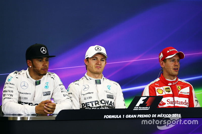 Polesitter Nico Rosberg, Mercedes AMG F1 and third place Sebastian Vettel, Ferrari and second place Lewis Hamilton, Mercedes AMG F1 Team