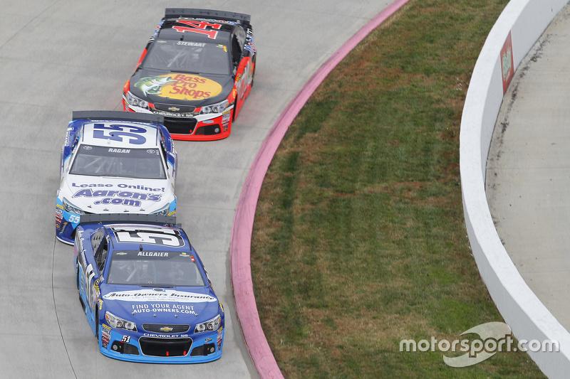 Justin Allgaier, HScott Motorsports Chevrolet and David Ragan, Michael Waltrip Racing Toyota and Ton