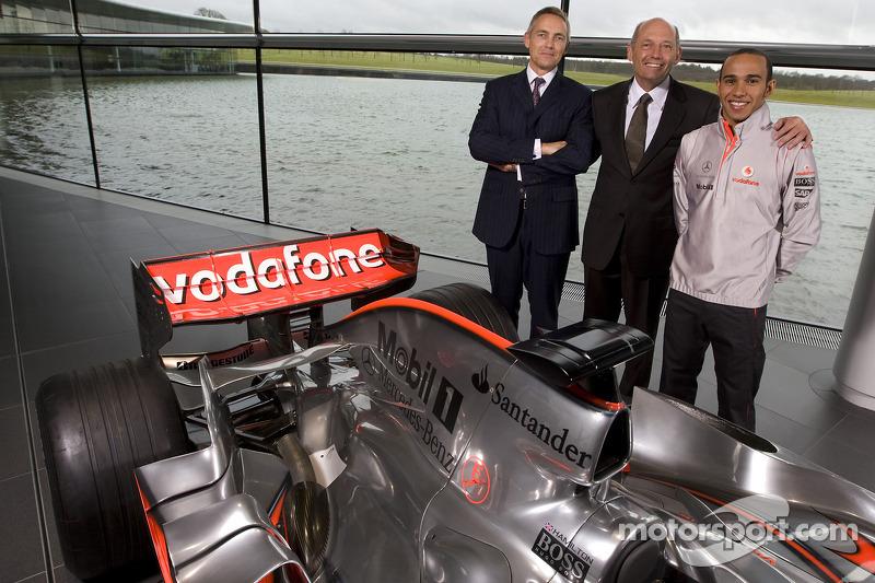 Lewis Hamilton poses with Martin Whitmarsh  and Ron Dennis