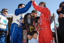 Memo Rojas, Juan Pablo Montoya and Dario Franchitti celebrate win
