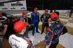 Jamie McMurray talks with the six contenders for the Raybestos Rookie of the Year