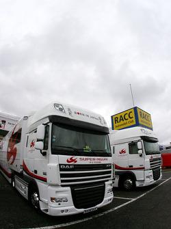 Super Aguri F1 Team trucks in the paddock