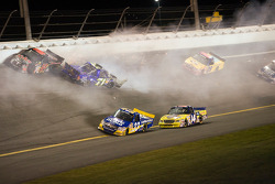 Mike Bliss, Joey Clanton, Colin Braun, Terry Cook and Justin Marks crash in turn 4