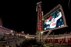 Victory lane: race winner Dale Earnhardt Jr. celebrates on the giant screen