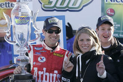 Victory lane: race winner Matt Kenseth celebrates with his wife Kathie