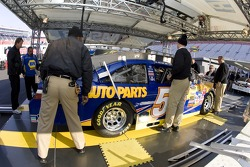 The #55 NAPA Toyota makes its way thru inspection