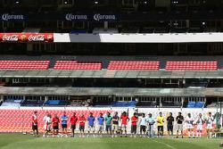 A1GP Drivers at the Azteca stadium