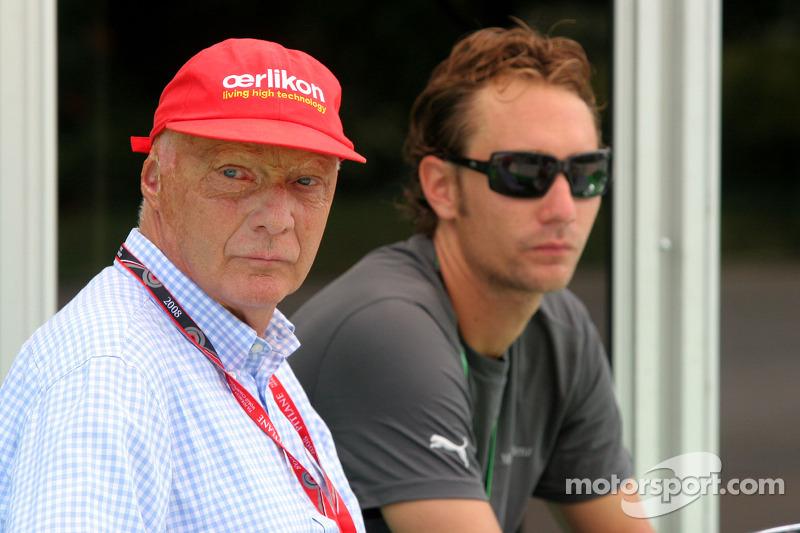 Niki Lauda, Former F1 world champion and RTL TV wit his son Mathias Lauda