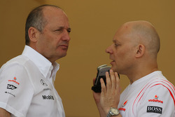 Ron Dennis, McLaren, Team Principal, Chairman and Matt Bishop, McLaren Mercedes, Head of Communications and Public Relations