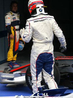 Pole winner Robert Kubica and Fernando Alonso