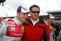 Pole sitter Timo Scheider, Audi Sport Team Abt Sportsline, with Hans-Jurgen Abt, Teamchef Abt-Audi