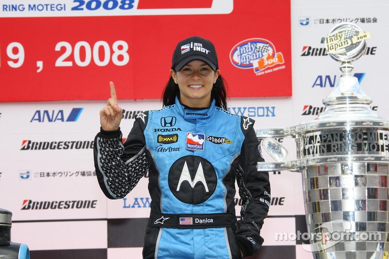 Podium: race winner Danica Patrick