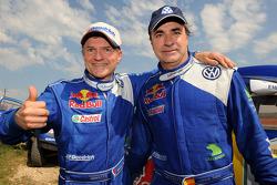 Rally winners Carlos Sainz and Michel Périn celebrate