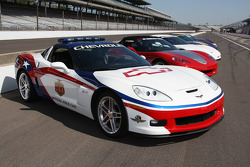 Indianapolis 500 Pace Cars of past line-up on pit row