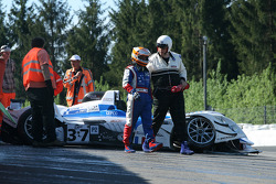 #37 WR / Salini WR - Zytek: Patrice Roussel, Philippe Salini, Stéphane Salini driver walks away after impact at Eau Rouge