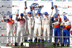 LMP1 podium: class and overall winners Marc Gene, Nicolas Minassian and Jacques Villeneuve, second place Alexandre Prémat and Mike Rockenfeller, third place Nicolas Lapierre and Oliver Panis