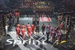 The NASCAR Sprint Pit Crew Challenge at the Time Warner Cable Arena in Charlotte: the Office Depot Crew and the Fed Ex Team are introduced