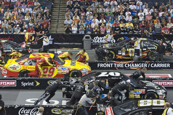 The NASCAR Sprint Pit Crew Challenge at the Time Warner Cable Arena in Charlotte: the Pennzoil crew competes against the Jack Daniels team