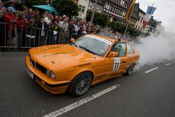 A drift challenge BMW performs a major burnout