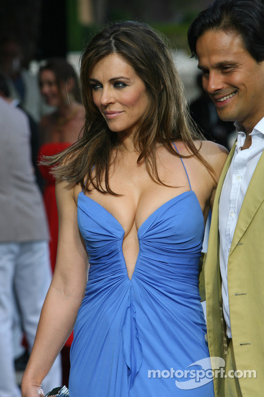 Liz Hurley Actress With Her Husband Arun Nayar At Monaco Gp