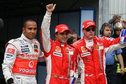Lewis Hamilton, McLaren Mercedes with pole sitter Felipe Massa, Scuderia Ferrari and Kimi Raikkonen, Scuderia Ferrari