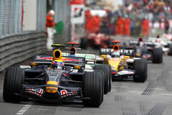 Mark Webber, Red Bull Racing leads Jenson Button, Honda Racing F1 Team