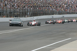 The pace car leads the field under caution