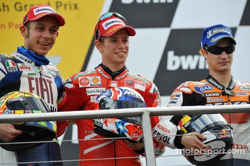 2008: 1. Casey Stoner, 2. Valentino Rossi, 3. Dani Pedrosa