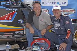 Victory lane: race winner Chet Fillip and brother Corey Fillip