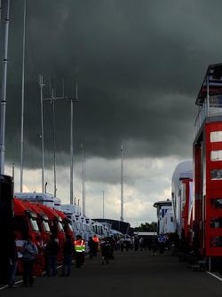 Dark skies above the paddock