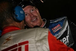 Race winner Scott Dixon gets interviewed
