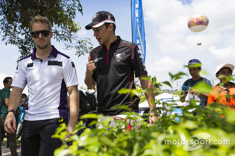 Sam Bird, DS Virgin Racing Formula E Team and Loic Duval, Dragon Racing