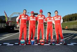 From left to right: Andrea Bertolini, Ferrari test driver, Marc Gene, Ferrari test driver, Esteban Gutierrez, Ferrari test driver, Antonio Fuoco, Ferrari test driver, Davide Rigon, AF Corse