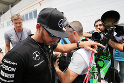 Lewis Hamilton, Mercedes AMG F1 arrives at the paddock