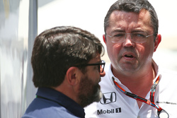 (L to R): Luis Garcia Abad, Driver Manager with Eric Boullier, McLaren Racing Director