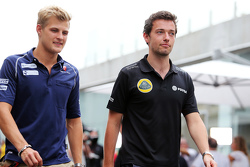 (L to R): Marcus Ericsson, Sauber F1 Team with Jolyon Palmer, Lotus F1 Team Test and Reserve Driver