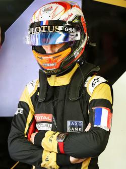 Romain Grosjean, Lotus F1 Team lleva un Tricolor como apoyo a las victimas de los ataques terroristas de París