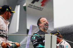 Lewis Hamilton, Mercedes AMG F1 celebrates his celebrates second position with Jimmy Waddell, Mercedes AMG F1 Composite Inspector on the podium