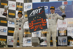 Race 1 winner Stoffel Vandoorne and second place Nobuharu Matsushita, ART Grand Prix with their Team Champions board