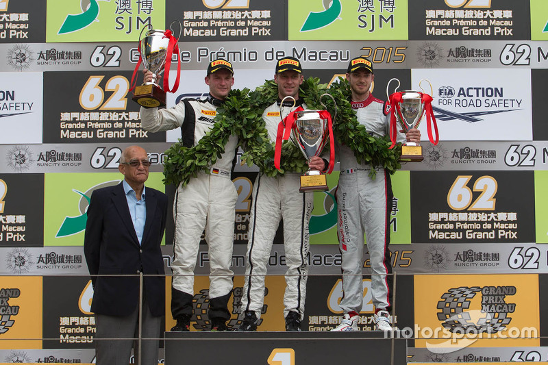 Podium: winner Stefan Mücke, Craft-Bamboo AMR, second Maro Engel, Mercedes AMG Driving Academy, third Edoardo Mortara, Audi Sport Team Phoenix