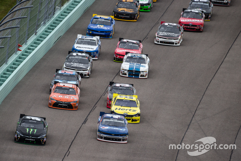 Kyle Busch, Joe Gibbs Racing Toyota and Kyle Larson, HScott Motorsports with Chip Ganassi lead the f