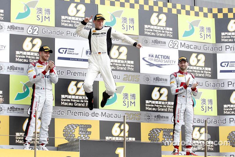 Podium: winner Maro Engel, Mercedes AMG Driving Academy, second place Edoardo Mortara, Audi Sport Te