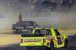 NASCAR Camping World Truck Series 2015 champion Erik Jones, Kyle Busch Motorsports celebrates with race winner Matt Crafton, Thorsport Racing
