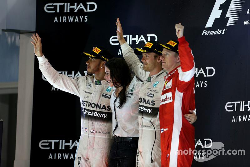 Second place Lewis Hamilton, Mercedes AMG F1 Team and race winner Nico Rosberg, Mercedes AMG F1 Team