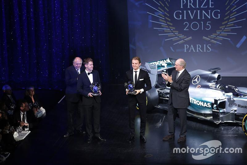 尼克·罗斯伯格和塞巴斯蒂安·维特尔分获世界一级方程式锦标赛年度亚军和季军